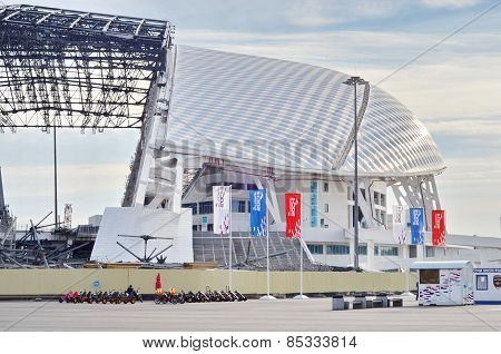 Fisht Olympic Stadium in Sochi, Russia under construction for World Cup 2018