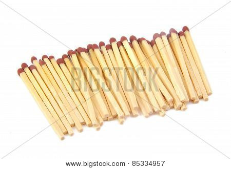 Set of aligned matches on white background