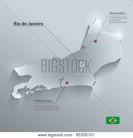 Brazil Rio de Janeiro State map flag glass card paper 3D vector