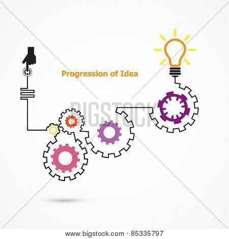 Creative Light Bulb Symbol With Linear Of Gear Shape. Progression Of Idea Concept. Business, Educati