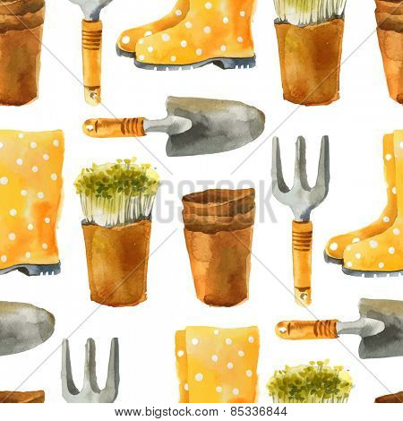watercolor gardening seamless pattern