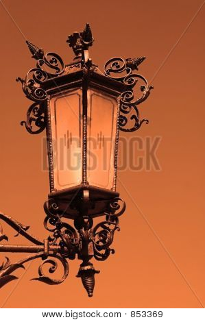 Old Antique Street Lantern During The Sunset