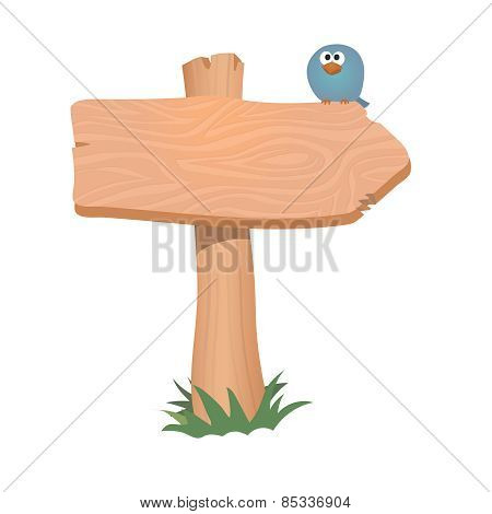 Wooden sign, arrow.    Vector illustration.