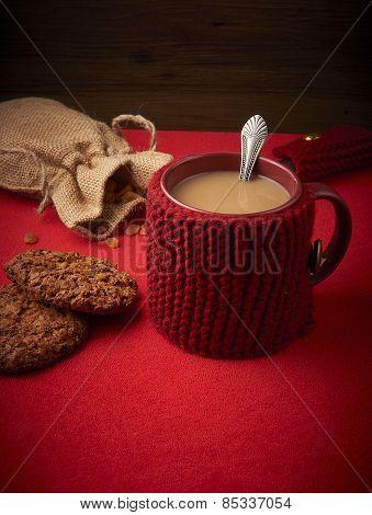 Mug of coffee with milk