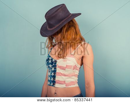 American Woman With Cowboy Hat