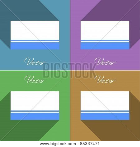 Flags Altai Republic. Set Of Colors Flat Design And Long Shadows. Vector