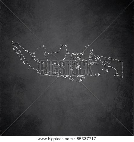 Indonesia map blackboard chalkboard raster