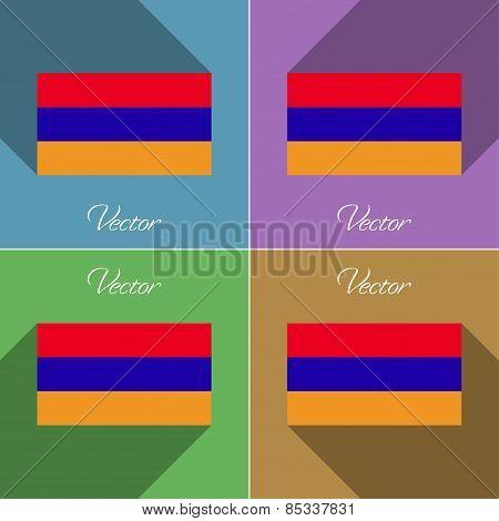 Flags Armenia. Set Of Colors Flat Design And Long Shadows. Vector