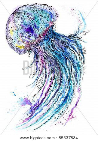 Jelly fish watercolor and ink painting