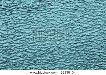 Texture Short-haired Fur Fabric Of Azure Color