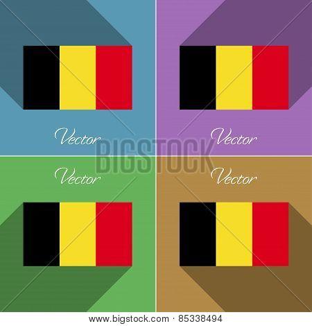 Flags Belgium. Set Of Colors Flat Design And Long Shadows. Vector