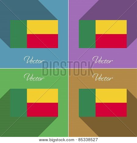 Flags Benin. Set Of Colors Flat Design And Long Shadows. Vector