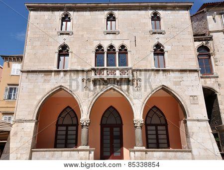 Venetian Windows On A Building In Split, Croatia