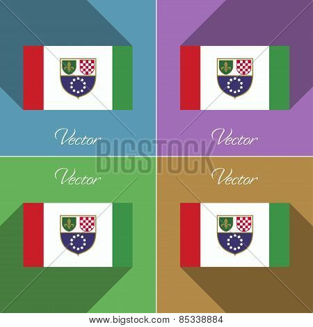 Flags Bosnia And Herzegovina Federation. Set Of Colors Flat Design Long Shadows. Vector