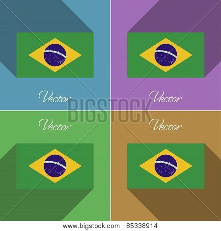 Flags Brazil. Set Of Colors Flat Design And Long Shadows. Vector