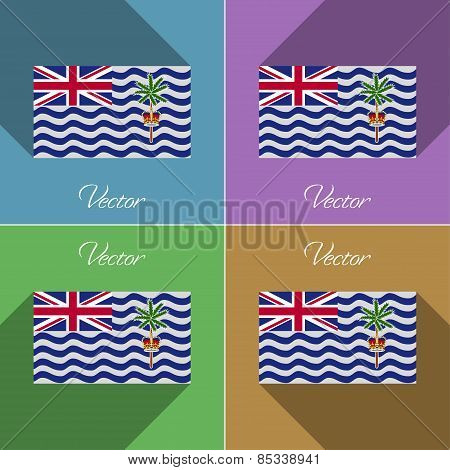 Flags British Indian Ocean Territory. Set Of Colors Flat Design And Long Shadows. Vector