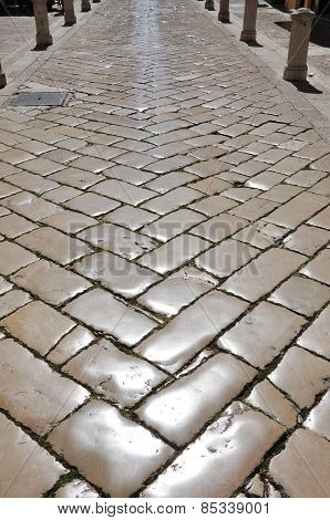 Polished Cobblestones In Zadar Starigard, Croatia