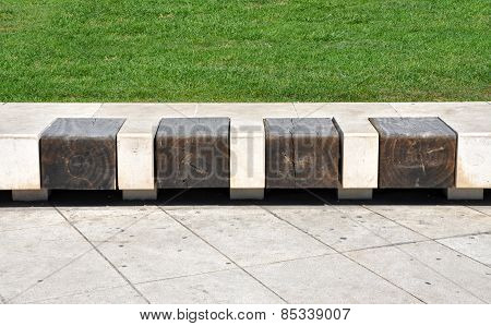 Stone Bench With Wooden Seats
