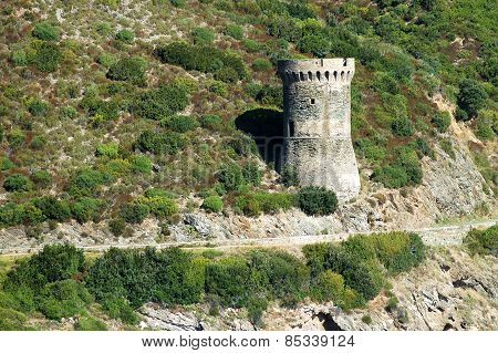 Genoese Tower In Corsica. L'osse Defense Tower