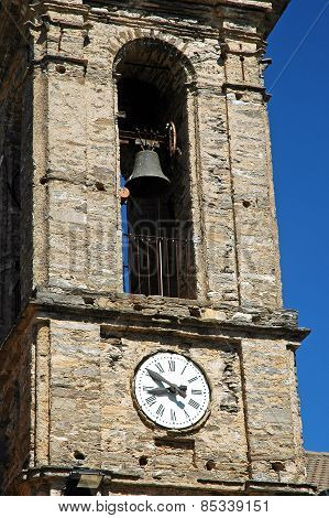 Clock And Bell Tower In Pietraserena, Corsica
