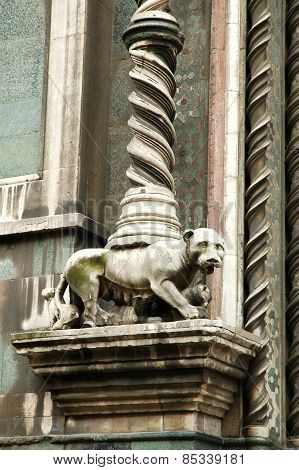 Architectural Details On Santa Maria Del Fiore Cathedral, Florence, Italy