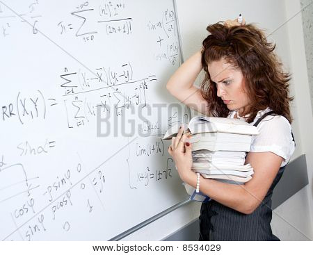 Thinking Student At Blackboard