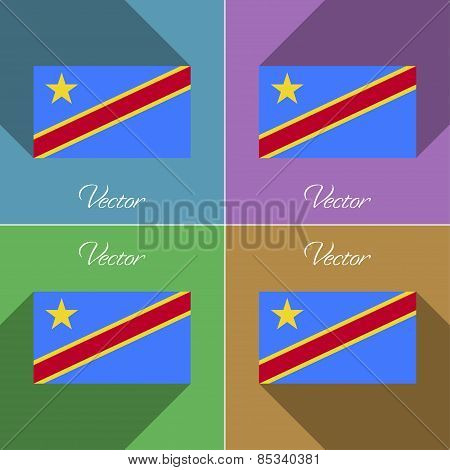 Flags Congo Democratic Republic. Set Of Colors Flat Design And Long Shadows. Vector