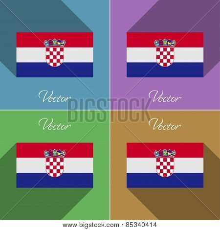 Flags Croatia. Set Of Colors Flat Design And Long Shadows. Vector