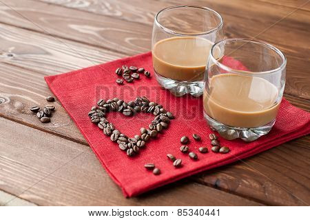 Coffee liqueur with heart of coffee beans
