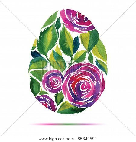 Happy Easter  Greeting Card Or Invitation. Happy Easter! Watercolor Flower Rose Egg