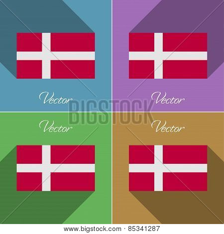 Flags Denmark. Set Of Colors Flat Design And Long Shadows. Vector
