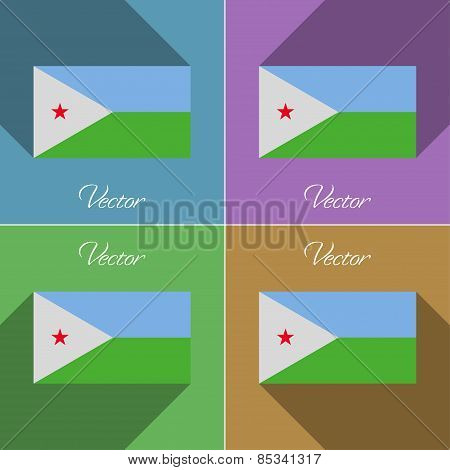 Flags Djibouti. Set Of Colors Flat Design And Long Shadows. Vector