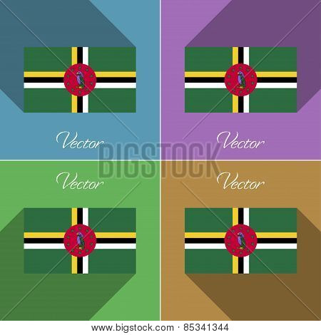 Flags Dominica. Set Of Colors Flat Design And Long Shadows. Vector