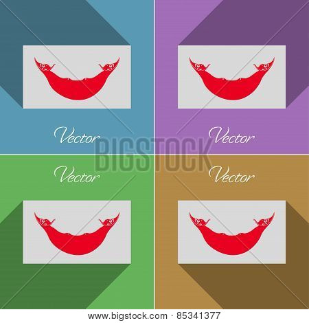 Flags Eaaster Rapa Nui. Set Of Colors Flat Design And Long Shadows. Vector