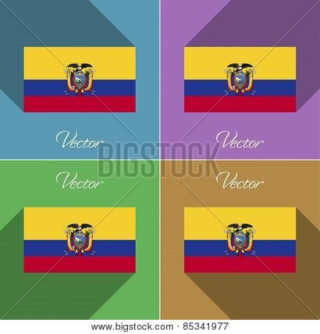 Flags Ecuador. Set Of Colors Flat Design And Long Shadows. Vector