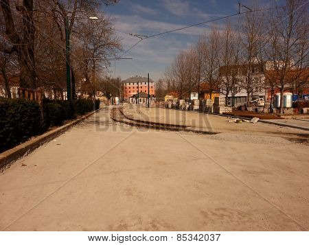 Tram track in Pilsen in Czech Republic