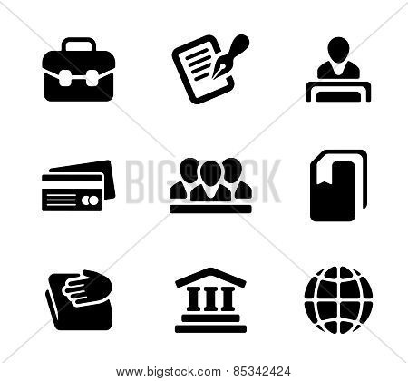 Financial activity and business staff flat icons set