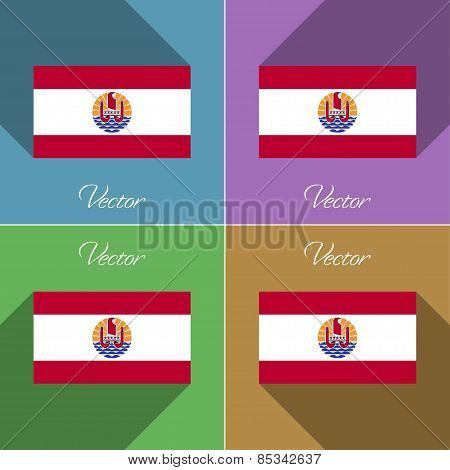Flags French Polynesia. Set Of Colors Flat Design And Long Shadows. Vector