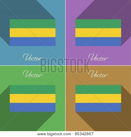Flags Gabon. Set Of Colors Flat Design And Long Shadows. Vector