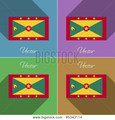 Flags Grenada. Set Of Colors Flat Design And Long Shadows. Vector