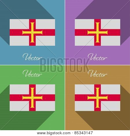 Flags Guernsey. Set Of Colors Flat Design And Long Shadows. Vector