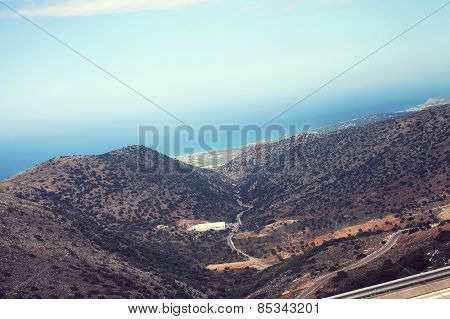Amazing Atmospheric Landscape Of Mountains, Slope Leading To The Sea, Island Of Crete, Greece