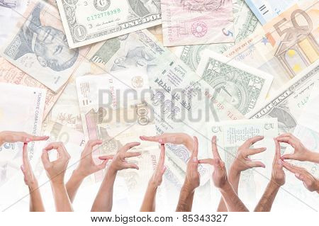 Word Together In Front Of Different Currencies