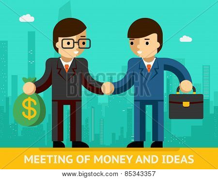 Meeting of money and ideas. Two businessmen handshake