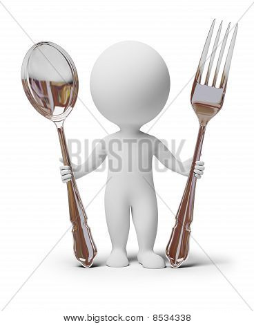 3D Small People - Fork And Spoon