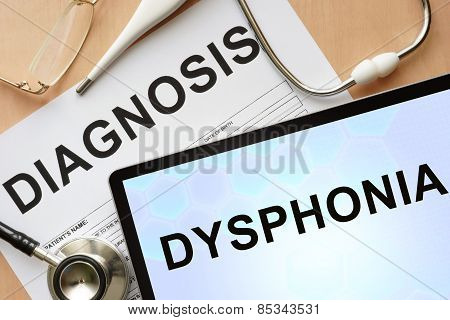 Tablet with diagnosis dysphonia and stethoscope.