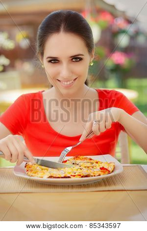 Happy Young Woman Eating Pizza