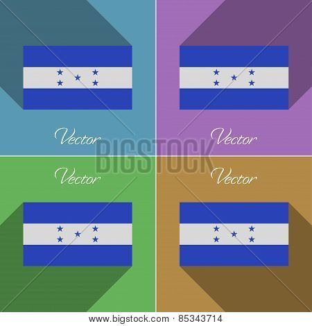 Flags Honduras. Set Of Colors Flat Design And Long Shadows. Vector