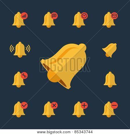 Alarm flat icons