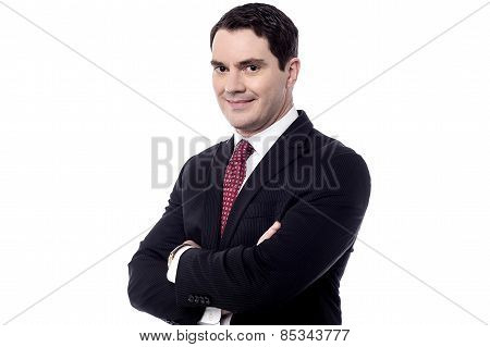 Successful Businessman Posing Over White